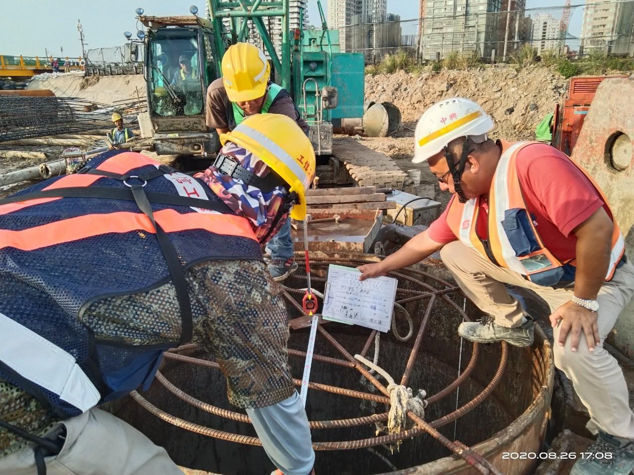 淡水端基樁挖掘後位置及深度量測查驗
