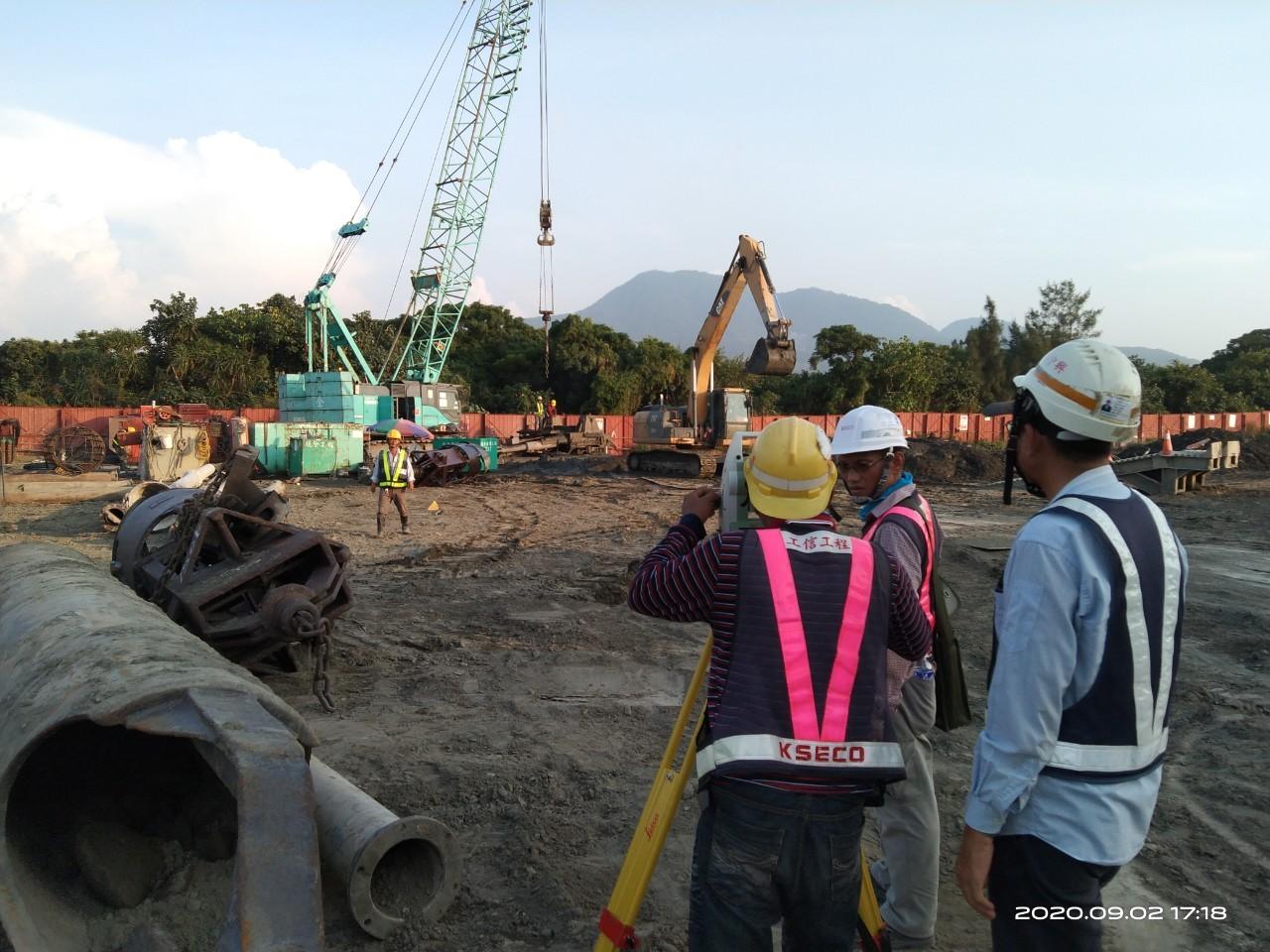 八里端基樁挖掘後位置測量查驗