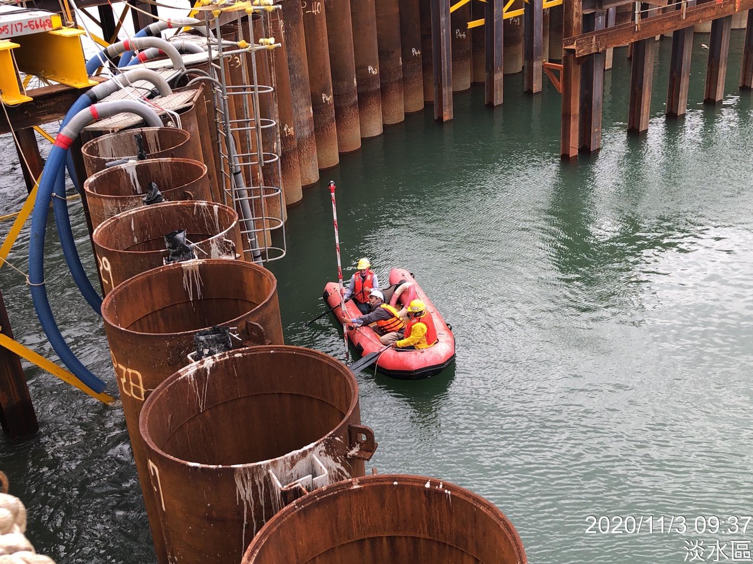 河中段P130鋼管板樁圍堰內側原地面測量收方