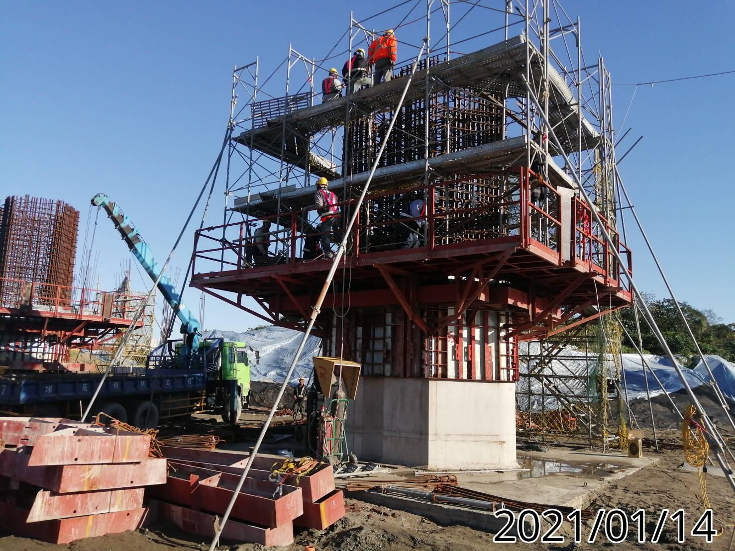 八里端橋墩墩柱第2昇層鋼筋綁紮