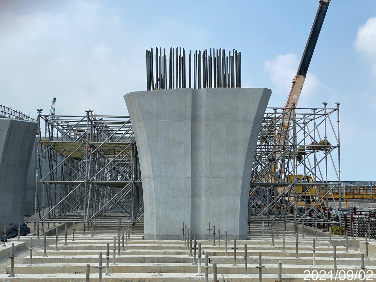 陸上段上構場撐支撐架組立安裝.
